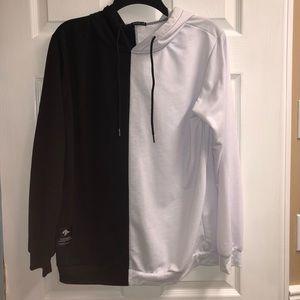 Black & White Contrast Oversized Hoodie